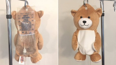 Medi Teddy is designed to conceal a bag of IV fluid, medication, or blood product from the patient.