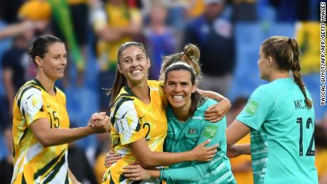 Australia's players celebrate after winning  the France 2019 Women's World Cup Group C football match between Australia and Brazil, on June 13, 2019, at the Mosson Stadium in Montpellier, southern France. (Photo by Pascal GUYOT / AFP)        (Photo credit should read PASCAL GUYOT/AFP/Getty Images)