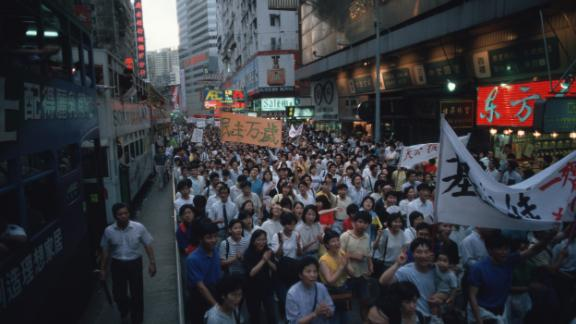 A pro-democracy demonstration in Victoria Park in Causeway Bay, Hong Kong, to show solidarity with victims of the massacre on Tiananmen Square in Beijing in 1989.