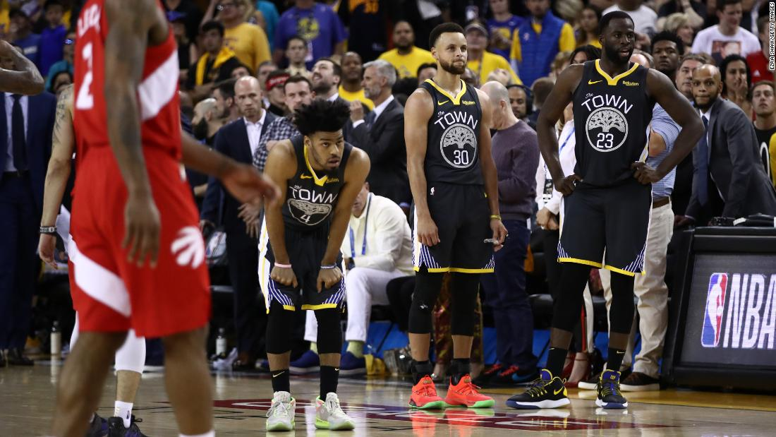 Golden State players react as they realize their reign is over late in Game 6. This was the fifth straight season that the Warriors played in the NBA Finals.