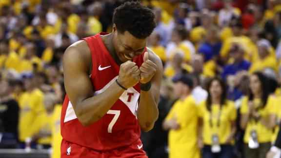 Toronto point guard Kyle Lowry cherishes the victory.