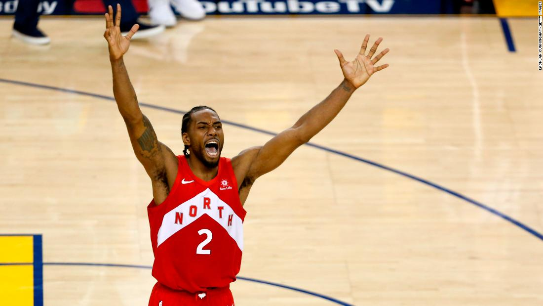 Kawhi Leonard celebrates after the Toronto Raptors won the NBA title with a 114-110 Game 6 victory over Golden State on Thursday, June 14. Leonard was named Finals MVP.