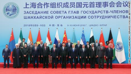 Chinese President Xi Jinping with other world leaders at the 18th Shanghai Cooperation Organization (SCO) Summit on June 10, 2018, in Qingdao, China