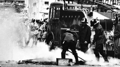 Rioters in an industrial area light hundreds of street fires in an effort to slow up movement of riot patrol units in May 1967.