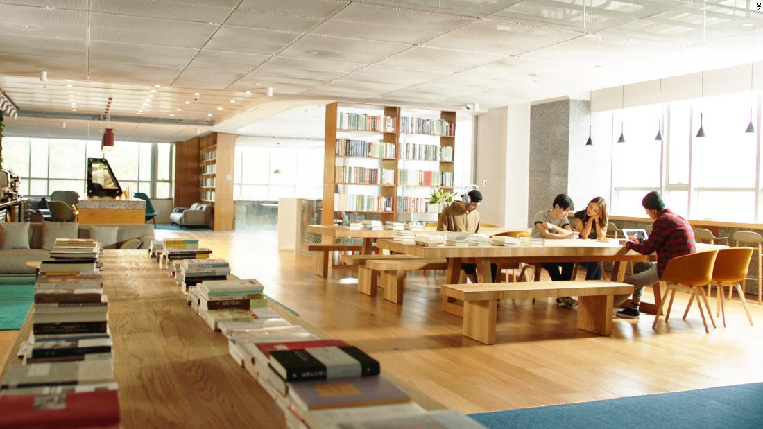A library area at NIO House, which also houses the carmaker's showroom.