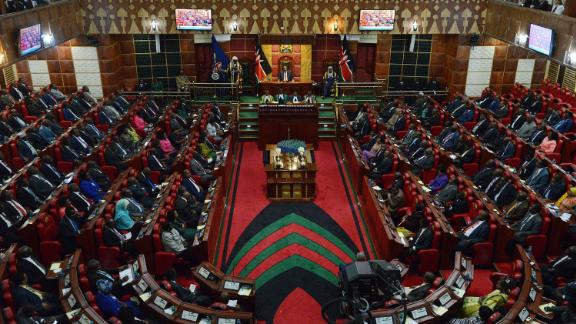 A general view taken on March 26, 2015 in Nairobi shows the Kenyan parliament, as President Uhuru Kenyatta addresses two Houses the Senate and the National Assembly.
