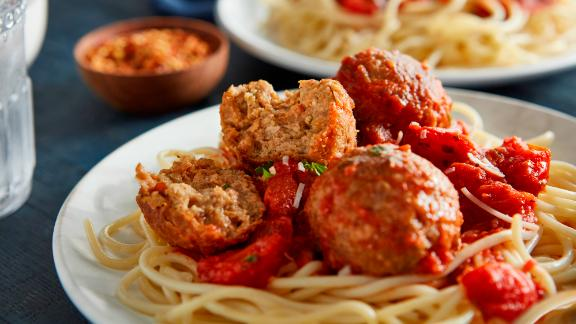 """Beyond Meat's new """"ground beef"""" in spaghetti and meatballs."""