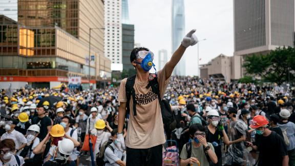 A protester makes a gesture during a protest on June 12, 2019 in Hong Kong China.