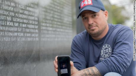 Former firefighter Michael O'Connell at the National Memorial Ceremony on September 11th and Museum.