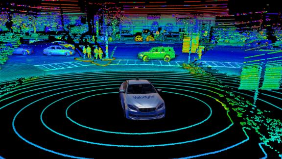 This point cloud shows where lidar pulses reflected off nearby objects, helping a car to understand its surroundings.
