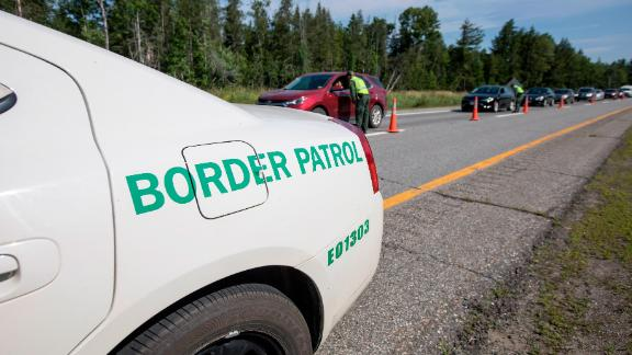WEST ENFIELD, ME - AUGUST 01:  Cars line up at U.S. Border Patrol highway checkpoint on August 1, 2018 in West Enfield, Maine. The checkpoint took place approximately 80 miles from the US/Canada border. (Photo by Scott Eisen/Getty Images)
