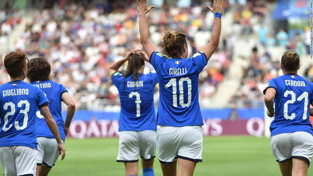 Cristiana Girelli scored a hat-trick in Italy's 5-0 win against Jamaica at the Women's World Cup.