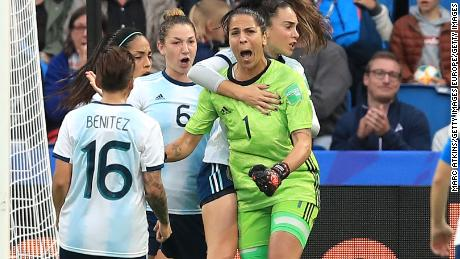 Vanina Correa (green) saved a penalty in Argentina's 1-0 loss to England at the World Cup.