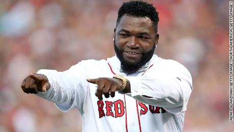David Ortiz, during his Red Sox jersey retirement ceremony in 2017, is making progress, his wife says.