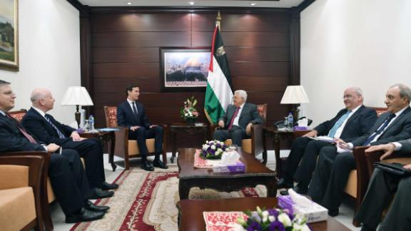 RAMALLAH, WEST BANK - JUNE 21:  In this handout image provided by the Palestinian Press Office (PPO), Palestinian President Mahmoud Abbas (R) meets with Jared Kushner, Senior Advisor to U.S. President Donald Trump, on June 21, 2017 in Ramallah, West Bank. Kushner is in the Middle East to broker Israeli-Palestinian peace talks. (Photo by Thaer Ghanaim/PPO via Getty Images)