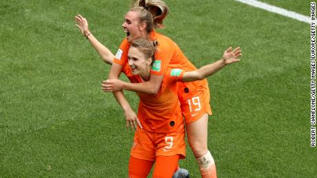 VALENCIENNES, FRANCE - JUNE 15: Vivianne Miedema of the Netherlands celebrates with teammate Jill Roord after scoring her team's third goal during the 2019 FIFA Women's World Cup France group E match between Netherlands and Cameroon at Stade du Hainaut on June 15, 2019 in Valenciennes, France. (Photo by Robert Cianflone/Getty Images)