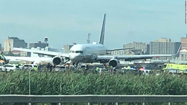Plane skids off runway at Newark airport