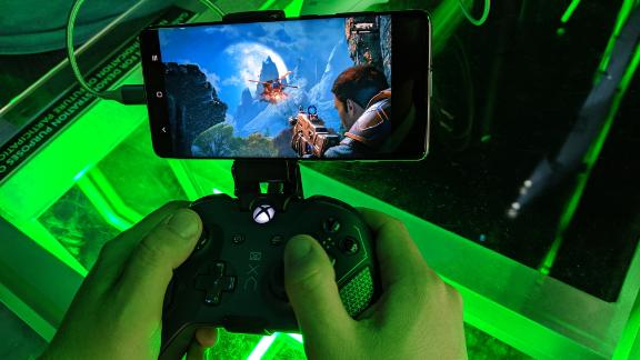 An Xbox employee demonstrates Project xCloud, Microsoft's new cloud gaming technology.
