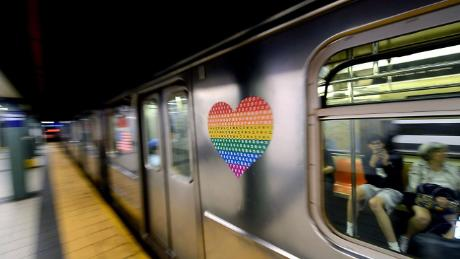 New York City's Metropolitan Transit Authority has put its Pride logos on five 10-car subway trains.