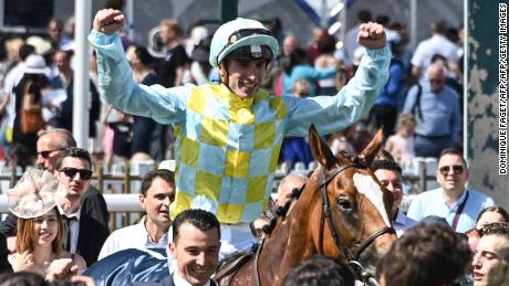"Jockey Pierre-Charles Boudot on Channel reacts after winning the 170th ""Prix de Diane"", a 2100-metre flat horse race, in Chantilly, north of Paris on June 16, 2019. (Photo by DOMINIQUE FAGET / AFP)        (Photo credit should read DOMINIQUE FAGET/AFP/Getty Images)"