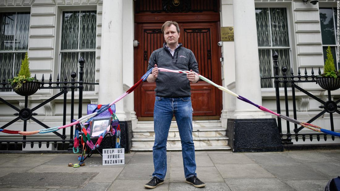 Nazanin Zaghari-Ratcliffe's husband goes on hunger strike outside Iranian Embassy in London