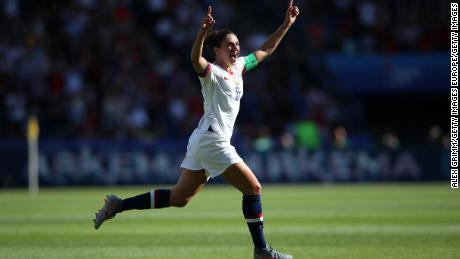 PARIS, FRANCE - JUNE 16: Carli Lloyd of the USA celebrates after scoring her team's first goal during the 2019 FIFA Women's World Cup France group F match between USA and Chile at Parc des Princes on June 16, 2019 in Paris, France. (Photo by Alex Grimm/Getty Images)