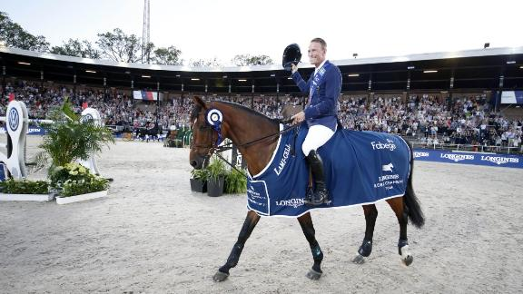 Stockholm: Peder Fredricson celebrates after winning the inaugural LGCT in the Olympic Stadium in Stockholm.