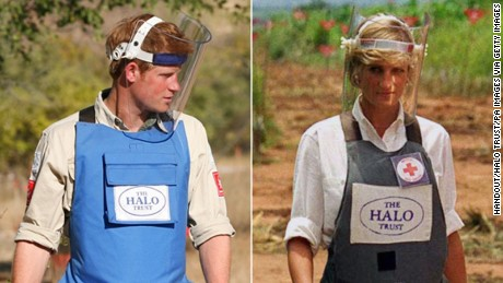 Prince Harry visits Angola with the Halo Trust in 2013, 16 years after his mother, Diana, did the same.