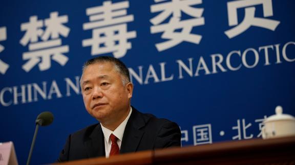 Liu Yuejin speaking during a press conference in Beijing in June.