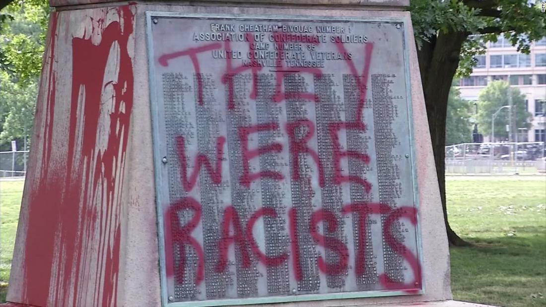 A Confederate monument in Nashville was vandalized with the words 'They were racists'
