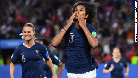 France's defender Wendie Renard celebrates after scoring a penalty kick  during the France 2019 Women's World Cup Group A football match between Nigeria and France, on June 17, 2019, at the Roazhon Park stadium in Rennes, western France. (Photo by FRANCK FIFE / AFP)        (Photo credit should read FRANCK FIFE/AFP/Getty Images)