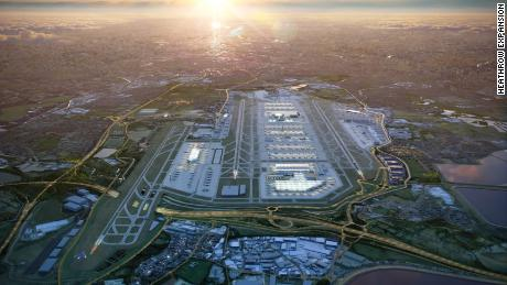 An architect's impression of Heathrow Airport's planned expansion, which is scheduled to be completed by 2050.