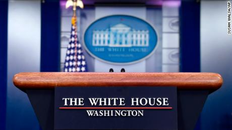 The White House podium at the White House in Washington, Monday, Jan. 28, 2019. (AP Photo/Susan Walsh)