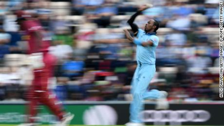 SOUTHAMPTON, ENGLAND - JUNE 14:   Jofra Archer of England runs up to bowl during the Group Stage match of the ICC Cricket World Cup 2019 between England and West Indies at The Hampshire Bowl on June 14, 2019 in Southampton, England. (Photo by Alex Davidson/Getty Images)