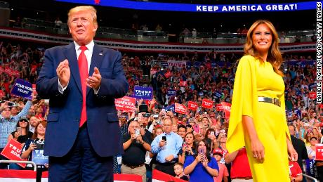 US President Donald Trump and First Lady Melania Trump arrive for the official launch of the Trump 2020 campaign at the Amway Center in Orlando, Florida on June 18, 2019. - Trump kicks off his reelection campaign at what promised to be a rollicking evening rally in Orlando. (Photo by MANDEL NGAN / AFP)        (Photo credit should read MANDEL NGAN/AFP/Getty Images)