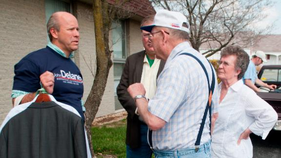Delaney speaks with potential voters outside of the UAW Hall in Hagerstown, Maryland, in March 2012. He was running for Congress at the time.