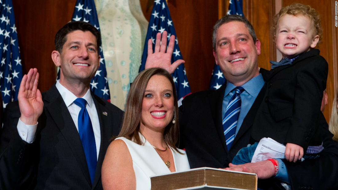 Ryan is joined by his wife and their son Brady during a swearing-in ceremony in Washington in January 2017. The oath of office was delivered by House Speaker Paul Ryan (no relation).