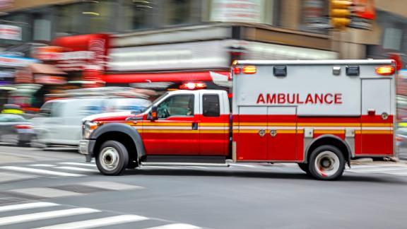 ambulance on emergency car in motion blur; Shutterstock ID 690581653; Job: -