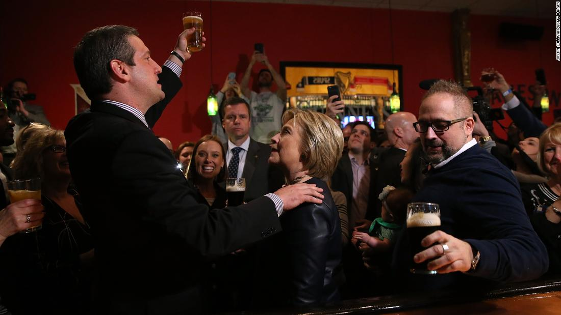 Ryan toasts Democratic presidential candidate Hillary Clinton while she campaigned in Youngstown, Ohio, in March 2016.