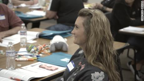 Participant in Mental Health First Aid Class listens to instructor in Defiance, Ohio workshop.
