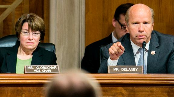 Delaney and US Sen. Amy Klobuchar question Grover Norquist, the leader of Americans for Tax Reform, during a Joint Economic Committee hearing in May 2013.