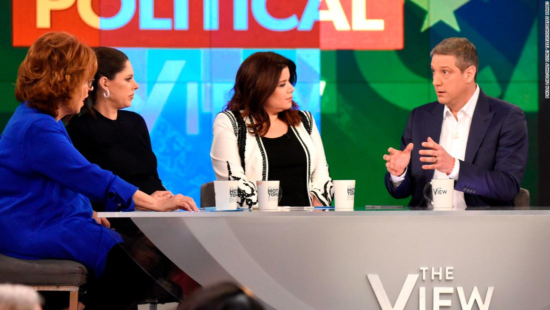 "Ryan announces his presidential bid on ABC's ""The View"" in April 2019."