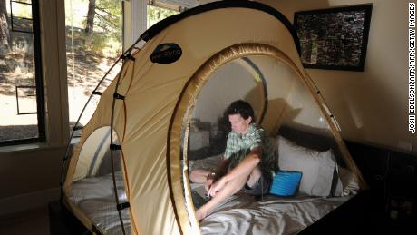 Ballinger sleeps in an altitude tent at his home in California.
