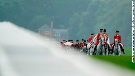ASCOT, ENGLAND - JUNE 19: The Royal Procession makes its way down the track on day two of Royal Ascot at Ascot Racecourse on June 19, 2019 in Ascot, England. (Photo by Alan Crowhurst/Getty Images for Ascot Racecourse )