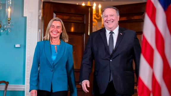 WASHINGTON, DC - JUNE 18: High Representative of the Union for Foreign Affairs and Security Policy and Vice-President of the European Commission Federica Mogherini and Secretary of State Mike Pompeo arrive for a photo spray on June 18, 2019 in Washington, DC. (Photo by Tasos Katopodis/Getty Images)