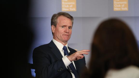Brian Moynihan, chairman of the board and chief executive officer of Bank of America Corp., speaks during an Economic Club of New York event in New York, U.S. On Tuesday, June 4, 2019. Continued strength in U.S. consumer and business confidence outweighs the recession signal being sent by an inverted yield curve, making a rate cut unlikely this year, Moynihan said. Photographer: Bess Adler/Bloomberg via Getty Images