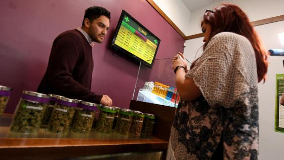 Customers buying cannabis products a medicinal marijuana dispensary in Los Angeles.