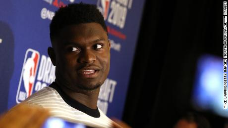 Zion Williamson speaks to the media ahead of the 2019 NBA draft at the Grand Hyatt New York on Wednesday in New York City.