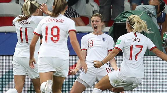 England's Ellen White has scored four goals in France so far.