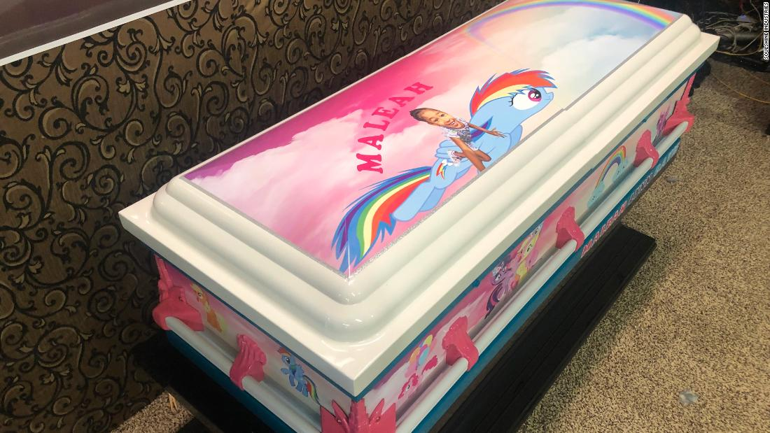 """Maleah Davis' casket is colored with rainbows, """"My Little Pony,"""" and lots of pink"""